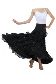 CISMARK Elegant Ballroom Dancing Latin Dance Party Long Swing Race Skirt - O meu olhar - $37.99  ~ 32.63€