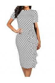 CISMARK Women's Vintage Short Sleeve Polka Dot Falbala Fold Slim Fit Pencil Dress - O meu olhar - $18.99  ~ 16.31€
