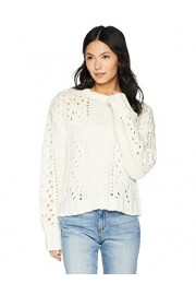 Cable Stitch Women's Chunky Wool Blend Pointelle Sweater - My look - $49.50