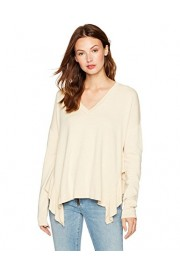 Cable Stitch Women's Ruffled Side Slit V-Neck Sweater - My look - $29.90