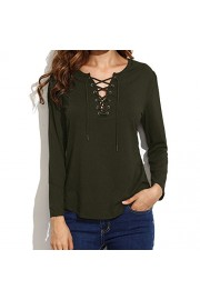 Casual T-shirts, Idingding Women's Lace Up Loose-fit Long Sleeve T-shirt Tunic Tops - Il mio sguardo - $21.99  ~ 18.89€