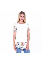 Casual Tunic Tops, Idingding Women's Splicing Floral High Low Hem Side Slit Blouse Tee Shirts (US,S,M,L,XL) - Il mio sguardo - $28.99  ~ 24.90€