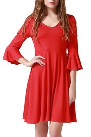 Chifave Women's 3/4 Bell Sleeve Casual V Neck A-Line Midi Skater Flare Cocktail Dress Red - O meu olhar - $19.99  ~ 17.17€