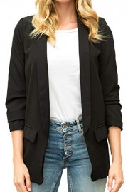 Chifave Women's 3/4 Ruched Sleeve Open Front Work Jacket Suit Casual Office Blazer - O meu olhar - $26.99  ~ 23.18€
