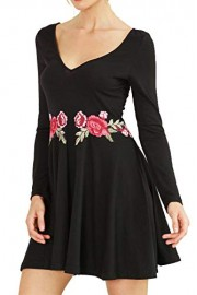 Chifave Women's Long Sleeve Deep V-Neck Casual Floral Embroidered Skater Flared A Line Dress - O meu olhar - $13.99  ~ 12.02€