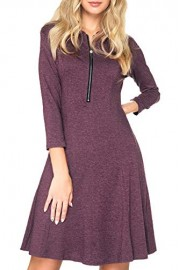 Chifave Women's Sexy V-Neck Casual 3/4 Sleeve Cocktail A-Line Flare Swing Midi Dress - O meu olhar - $13.99  ~ 12.02€