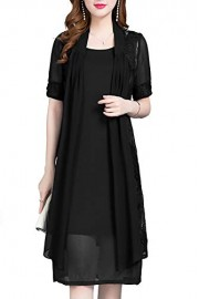 Chiffon Mother of The Bride Dresses with Jacket Knee Length - Moj look - $32.99  ~ 28.33€