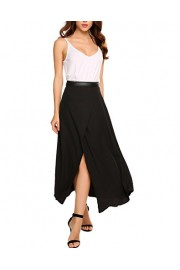 Chigant Womens Black Open Fork Lightweight Floor Length High Maxi Skirt With Stretch - Il mio sguardo - $35.99  ~ 30.91€