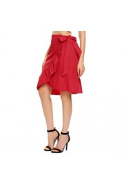 Chigant Women's Bowknot Front A-Line High Waisted Drawstring Pleated Midi Skirt - Il mio sguardo - $49.99  ~ 42.94€