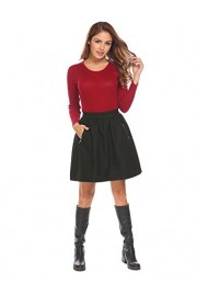 Chigant Women's High Waist Woolen Pleated A Line Winter Mini Skirt With Pockets - Il mio sguardo - $13.99  ~ 12.02€
