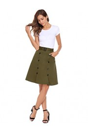 Chigant Women's High Waisted Office Wear Midi Skirt Pleated A Line Skirt with Pocket and Button - Il mio sguardo - $27.99  ~ 24.04€