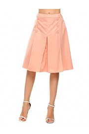 Chigant Women's High Waisted Vintage Wear to Work Midi Skirt with Button - Il mio sguardo - $13.99  ~ 12.02€