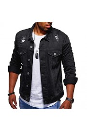 Cloudstyle Mens Motorcycle Denim Distressed Jacket Regular-Fit Trucker Jacket Outerwear - Mein aussehen - $37.99  ~ 32.63€