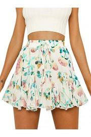 Conmoto Women's Casual Boho Floral Print High Waist Chiffon Ruffle Mini Skirt - My look - $23.99