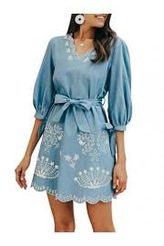 Conmoto Women's Casual V Neck Denim Shirt Dress Tie Waist Loose Fit Jeans Mini Dress - My look - $18.99
