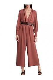 Conmoto Women's Elegant V Neck Long Sleeve Wide Leg Pants Jumpsuit Romper with Pockets - My look - $41.99