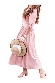 Conmoto Women's Elegant V Neck Short Sleeve High Waist Button Down Long Dress - My look - $13.99