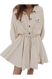 Conmoto Women's Long Sleeve Linen Mini Dress Button Shirt Dress with Drawstring - My look - $16.99