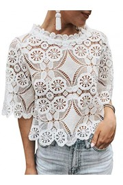 Conmoto Women's Short Sleeve Mesh Floral Lace Crop Top Sexy Sheer Blouse Shirt - My look - $27.99