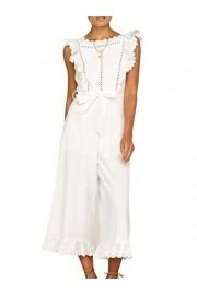 Conmoto Women's Sleeveless High Waist Linen Ruffle Wide Leg Jumpsuit Romper - My look - $39.99