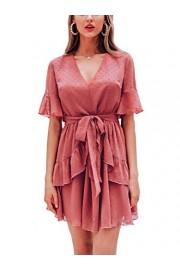 Conmoto Women's V Neck Short Sleeve Ruffle Dress Chiffon Polka Dot Mini Dress - My look - $31.99
