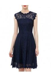 DRESSTELLS DresstellsWomen's Elegant Open Back Lace Cocktail Dress for Special Occasions Navy 3XL - Il mio sguardo - $15.99  ~ 13.73€
