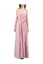 DRESSTELLS Long Bridesmaid Dress Spaghetti Straps Ruffle Evening Party Gowns With Belt - O meu olhar - $29.99  ~ 25.76€