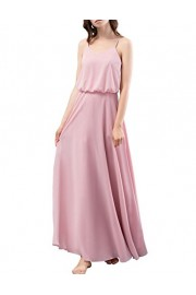 DRESSTELLS Long Bridesmaid Dress Spaghetti Straps V-Neck Chiffon Evening Party Gowns - O meu olhar - $35.99  ~ 30.91€