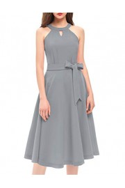 DRESSTELLS Women's Cocktail Halter Tea Dress Bridesmaid Swing Hollowed Front Dress with Belt - Mój wygląd - $15.99  ~ 13.73€