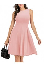 DRESSTELLS Women's Short Casual Sleeveless Dress Boatneck A-Line Dress - Moj look - $49.99  ~ 42.94€