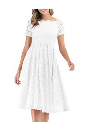 DRESSTELLS Women's Vintage Floral Lace Short Sleeve Boat Neck Cocktail Party Swing Dress - Mój wygląd - $59.99  ~ 51.52€
