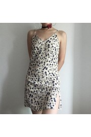 Deep V-neck split hem mini strap dress - My look - $25.99