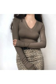 Deep V-neck threaded sleeve refers to lo - Il mio sguardo - $25.99  ~ 22.32€