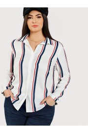 Dolphin Hem Striped Shirt - My look - $19.00