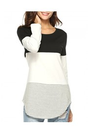 Doris Kids Women's Casual Long Sleeve Tunic Top Sweatshirt Color Block T-Shirt - My look - $35.00