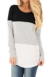 Doris Kids Women's Casual Tunic Top Short Sleeve Sweatshirt Color Block T-Shirt - My look - $35.00