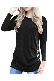 Doris Kids Women's Casual Tunic Top Sweatshirt Long Sleeve Blouse T-Shirt Button Decor - My look - $35.00