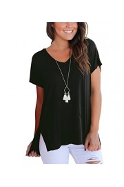 Doris Women's Tunic Top Short Sleeve Sweatshirt V-Neck High Low Loose Basic Tees Tops Blouse with Side Split Black S - My look - $16.99