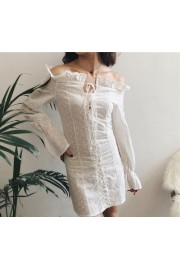 Drawstring ruffled long sleeve dress - Mein aussehen - $27.99  ~ 24.04€