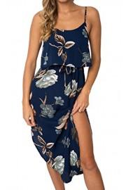 ECOWISH Womens Boho Dresses Floral Spaghetti Strap Backless Split Casual Beach Dress - O meu olhar - $6.99  ~ 6.00€