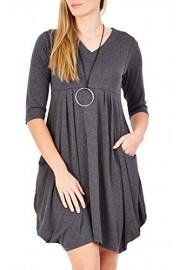 ECOWISH Womens Casual Half Sleeve V-Neck Loose Soft High Waist Pockets T-Shirt Dress - O meu olhar - $6.99  ~ 6.00€