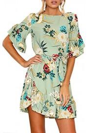 ECOWISH Womens Dresses Floral Print Short Sleeves Ruffle Hem Casual Mini Dress with Belt - O meu olhar - $5.99  ~ 5.14€