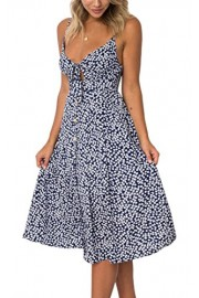 ECOWISH Womens Dresses Floral Spaghetti Strap Tie Front Backless Button Down A-Line Vintage Midi Dress - O meu olhar - $6.99  ~ 6.00€