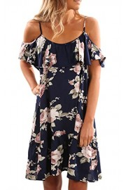 ECOWISH Womens Dresses Floral Summer Spaghetti Strap Ruffle Cold Shoulder Casual A-Line Dress - O meu olhar - $3.99  ~ 3.43€