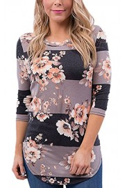 ECOWISH Womens Floral Print Long Sleeve Round Neck T Shirt Casual Blouse - O meu olhar - $5.99  ~ 5.14€