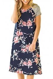 ECOWISH Womens Floral Print Striped Casual Short Sleeve T-shirt A-line Midi Dress - O meu olhar - $4.99  ~ 4.29€