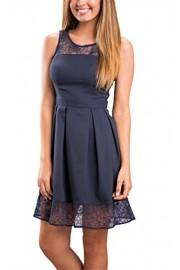 ECOWISH Womens Lace Dress Stitching Sleeveless Midi Tunic Skirt - O meu olhar - $15.99  ~ 13.73€
