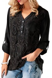 ECOWISH Womens Lace Stitching Long Sleeve Blouses Back Buttons Shirts V Neck Solid Tops - O meu olhar - $5.99  ~ 5.14€