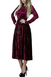 ECOWISH Womens Long Sleeve Belted Vintage Velvet Flare Swing Long Pleated Dress - O meu olhar - $8.99  ~ 7.72€