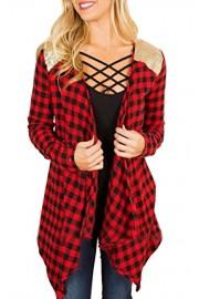 ECOWISH Womens Long Sleeve Lapel Plaid Irregular Cardigans Open Front Coat Outwear - O meu olhar - $3.99  ~ 3.43€